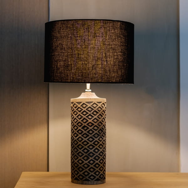 Tischlampe Schwarz Mangoholz - NUGU -