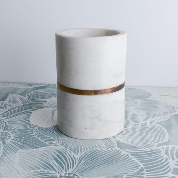 Marmor Vase Weiß Gold - ELAK -