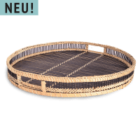 Schwarzes Rattan Serviertablett - REGO