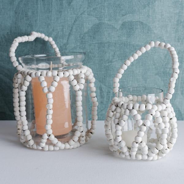 Teelicht mit Holzperlen weiß - KOTA -