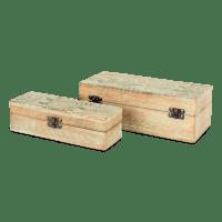 Mangoholzbox Set mit Boho Schnitzungen - KEBESARAN