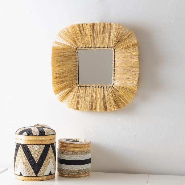 Stroh Wandspiegel Quadrat - KAJEN -