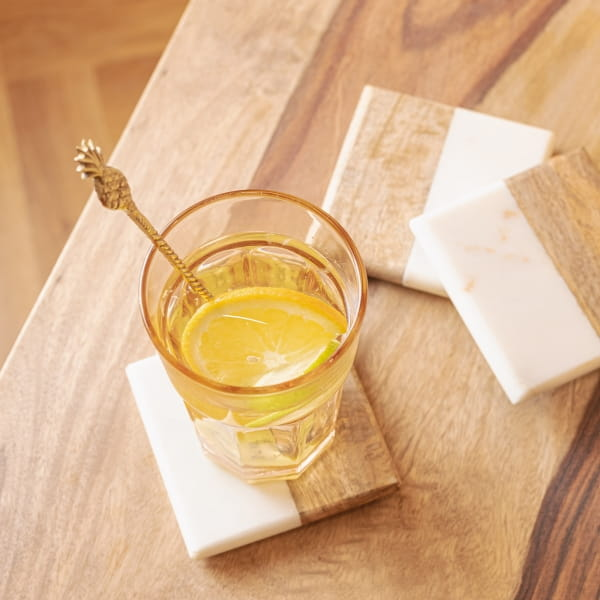Untersetzer Marmor Holz Set - KLATEN -