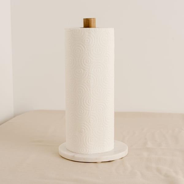 Küchenrollenhalter Marmor und Akazienholz - GLENO -