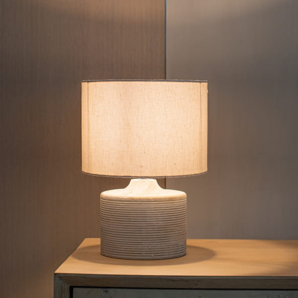 Tischlampe Beige Mangoholz - ASEM -